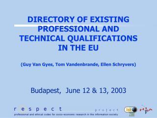 Budapest,  June 12 & 13, 2003