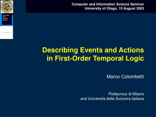 Describing Events and Actions in First-Order Temporal Logic
