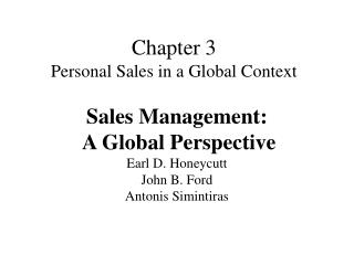 Chapter 3 Personal Sales in a Global Context
