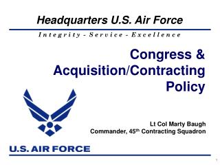 Congress &  Acquisition/Contracting Policy