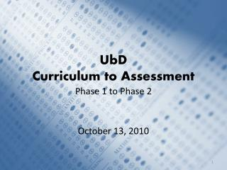 UbD Curriculum to Assessment