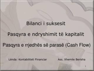 Bilanci i sukses it Pasqyra e ndryshimit t� kapitalit Pasqyra e rrjedh�s s� paras� (Cash Flow)