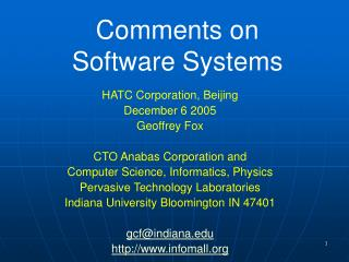 Comments on Software Systems