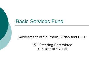 Basic Services Fund
