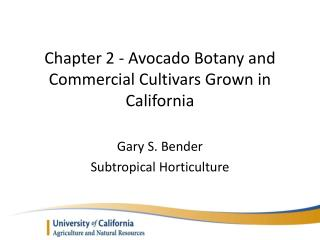 Chapter 2 - Avocado Botany and Commercial Cultivars Grown in California