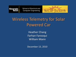 Wireless Telemetry for Solar Powered Car