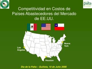 Competitividad en Costos de  Países Abastecedores del Mercado  de EE.UU.