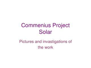 Commenius Project Solar