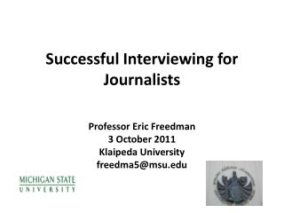 Successful Interviewing for Journalists