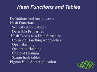 Hash Functions and Tables