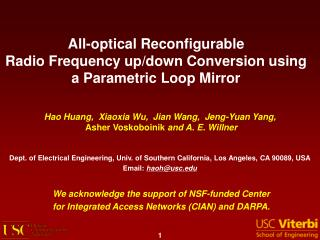 All-optical Reconfigurable  Radio Frequency up/down Conversion using  a Parametric Loop Mirror