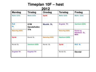 Timeplan  10F  –  høst 2012