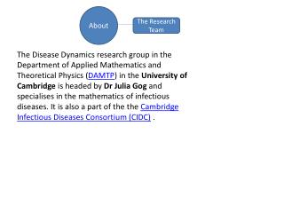 The Disease Dynamics research group in the Department of Applied Mathematics and