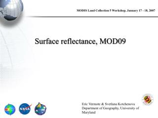 Surface reflectance, MOD09