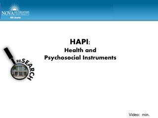 HAPI: Health and  Psychosocial Instruments