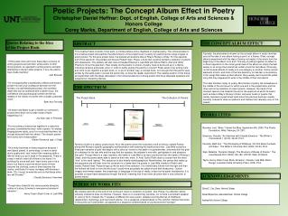 Poetic Projects: The Concept Album Effect in Poetry