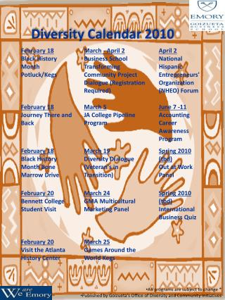 Diversity Calendar 2010