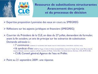 Ressource de substitutions structurantes Avancement des projets et du processus de décision