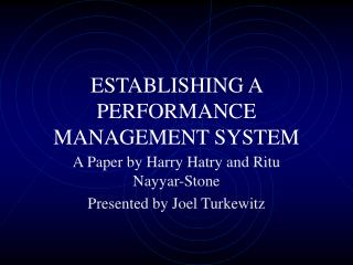 ESTABLISHING A PERFORMANCE MANAGEMENT SYSTEM