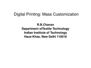 Digital Printing: Mass Customization
