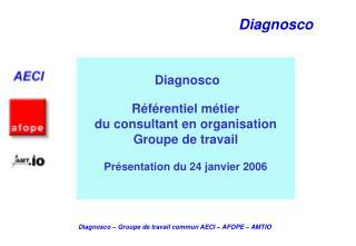 Diagnosco  R f rentiel m tier du consultant en organisation Groupe de travail  Pr sentation du 24 janvier 2006
