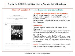 Revise for GCSE Humanities:  How to Answer Exam Questions