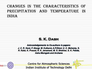 Changes in the characteristics of precipitation and temperature in india