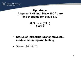 Update on   Alignment kit and Stave 250 frame and thoughts for Stave 130 M.Gibson (RAL) 7/6/13