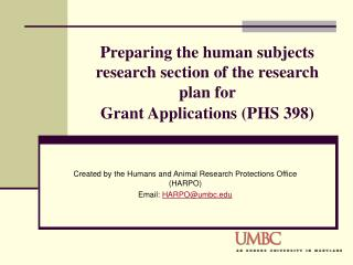 Preparing the human subjects research section of the research plan for