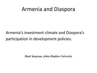 Armenia and Diaspora