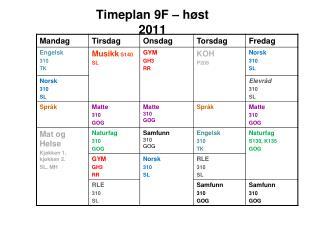 Timeplan  9F – høst 2011