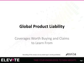 Global Product Liability