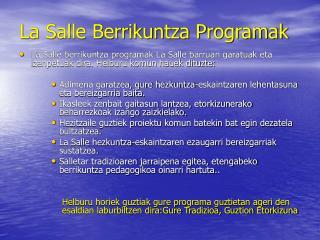 La Salle Berrikuntza Programak
