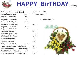 HAPPY  BirTHDAY Tha�ng  11-2012