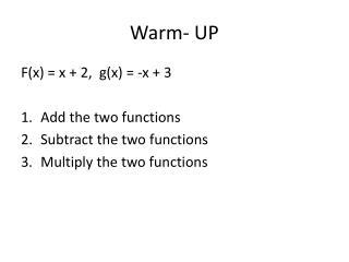 Warm- UP