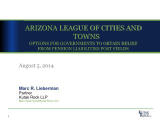 ARIZONA LEAGUE OF CITIES AND TOWNS OPTIONS FOR GOVERNMENTS TO OBTAIN RELIEF