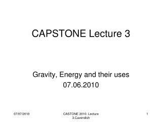 CAPSTONE Lecture 3
