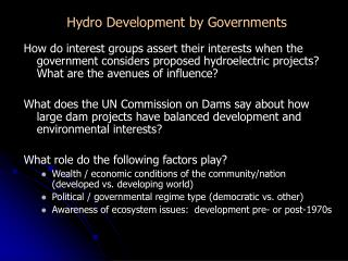 Hydro Development by Governments