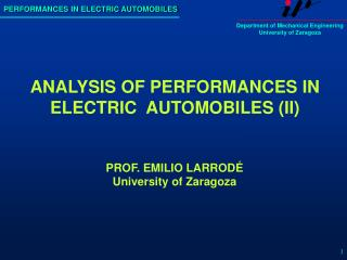 ANALYSIS OF PERFORMANCES IN ELECTRIC  AUTOMOBILES (II)