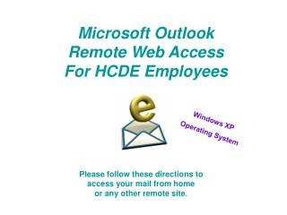 Microsoft Outlook  Remote Web Access For HCDE Employees