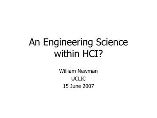 An Engineering Science within HCI?