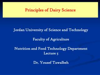 Principles of Dairy Science