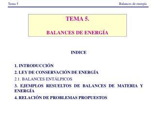 TEMA 5. BALANCES DE ENERGÍA