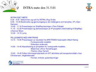 INTRA EGET MØTE 9.30 - 9.45  Velkommen og nytt fra INTRA v/Kay Endre