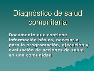 Diagnóstico de salud comunitaria