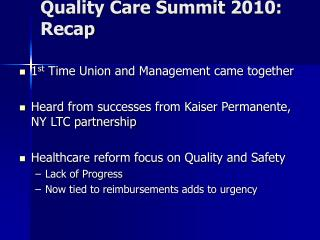 Quality Care Summit 2010: Recap