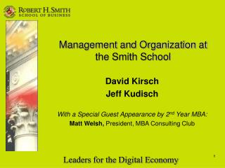 Management and Organization at the Smith School