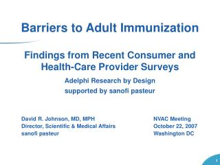 Findings from Recent Consumer and Health-Care Provider Surveys Adelphi Research by Design