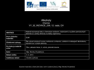 Alkoholy Chemie VY_32_INOVACE_239, 12.  sada,  CH