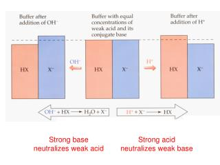 Strong base neutralizes weak acid